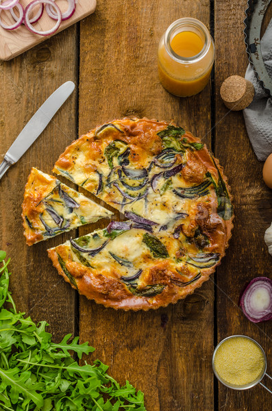 Polenta quiche with red onion and herbs Stock photo © Peteer