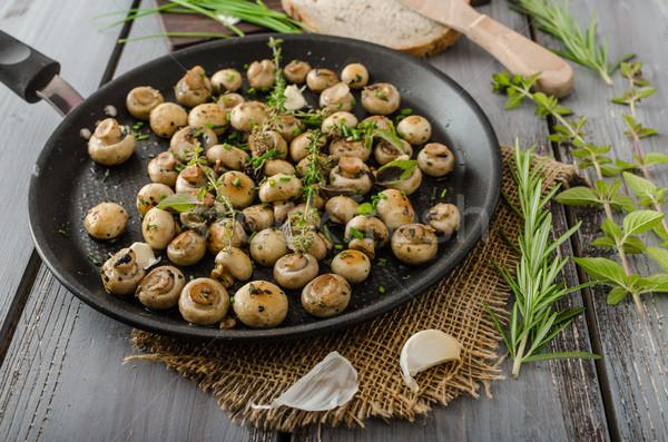 Stock fotó: Saláta · kicsi · gombák · gyógynövények · bio · otthon