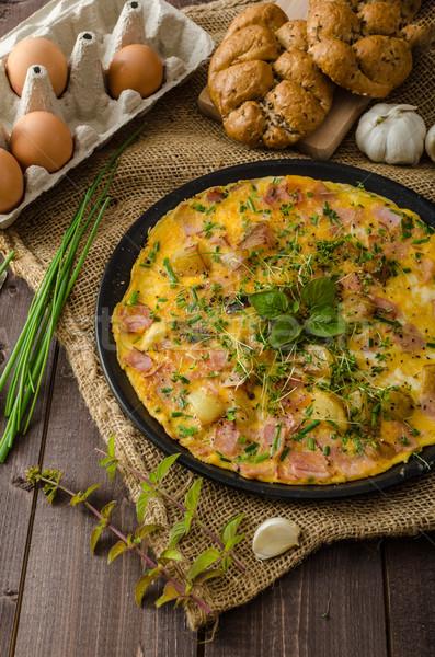 卵 ハム ハーブ バイオ 卵 ストックフォト © Peteer