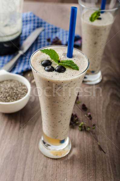 Blueberries milk shake Stock photo © Peteer
