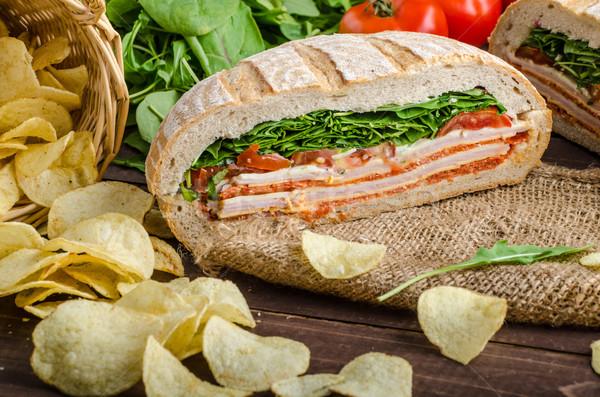 Italiaans sandwich vol smakelijk ham kaas Stockfoto © Peteer