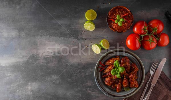 Kip vleugels hete saus heerlijk plaats tekst Stockfoto © Peteer