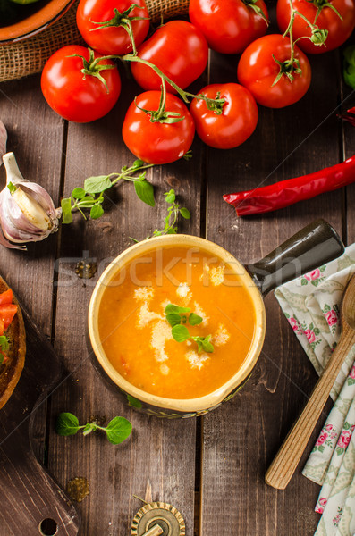 сливочный томатный суп чеснока помидоров лист Сток-фото © Peteer