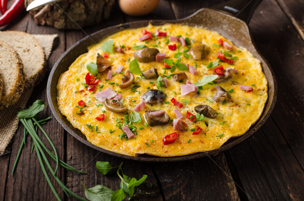 Stock photo: Fresh omelette, pickles mushrooms and chilli