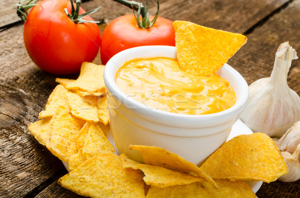 Tortilla chips with tomato and cheese-garlic dip Stock photo © Peteer