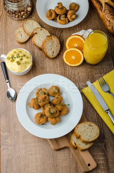Breaded fried mushrooms with juice Сток-фото © Peteer