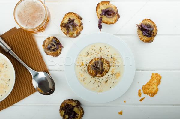 Foto stock: Cremoso · cebola · alho · sopa · brinde