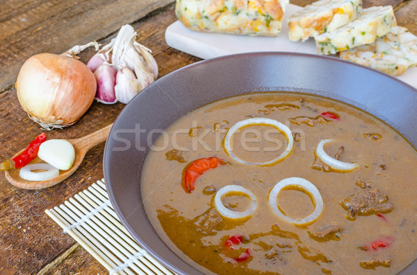 Stock photo: Beef goulash with homemade dumplings