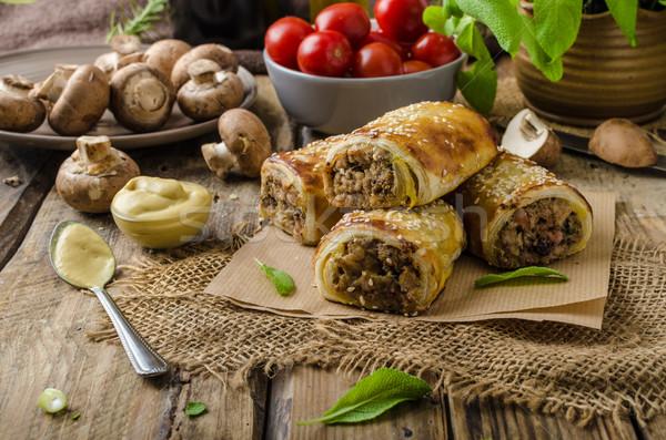 Kolbász zsemle finom gombák cseh buli Stock fotó © Peteer