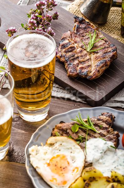 Сток-фото: гриль · свинина · мяса · пива · чеснока · соус