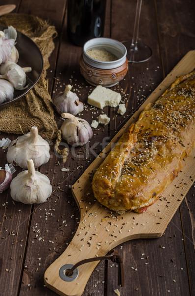 чабер ветчиной сыра чеснока школы кухне Сток-фото © Peteer