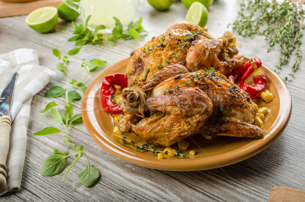Roasted French baby Chicken - Coquelet Stock photo © Peteer