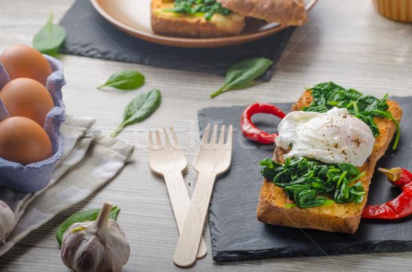 Tostado baguette huevo ajo espinacas mesa Foto stock © Peteer