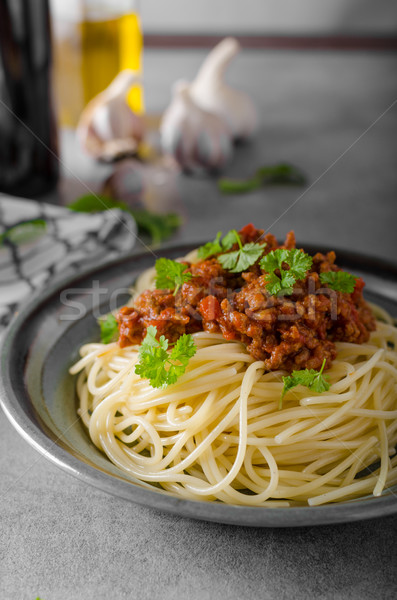 Spaghetti bolognese homemade Stock photo © Peteer