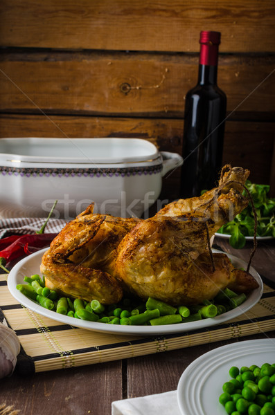Grilled chicken with wine and potatoes Stock photo © Peteer