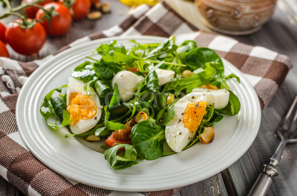 Lamb lettuce salad with eggs Stock photo © Peteer