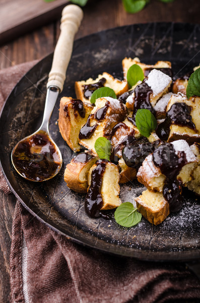 Cutted pancakes, Kaiserschmarrn delish dessert with plums Stock photo © Peteer