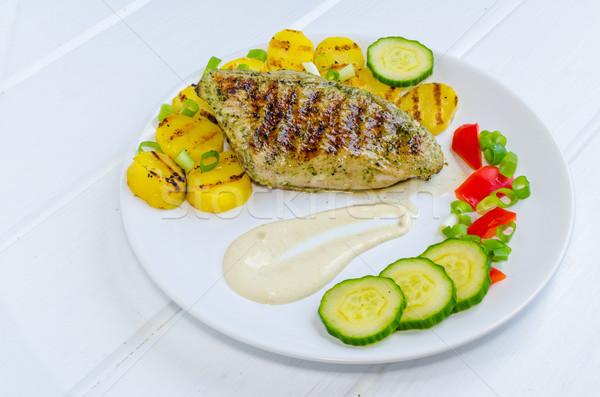 Stock fotó: Grill · Törökország · krumpli · mártás · fa · asztal · étterem