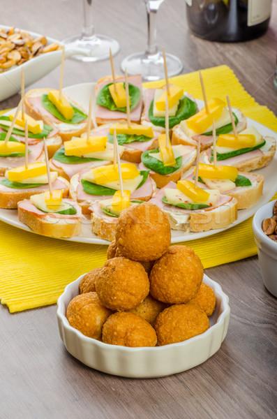 Nieuwe jaren maaltijd viering ham kaas Stockfoto © Peteer