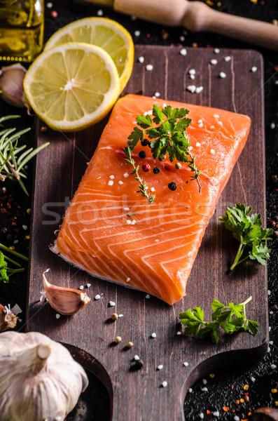 新鮮な 鮭 フィレット レモン ハーブ スパイス ストックフォト © Peteer