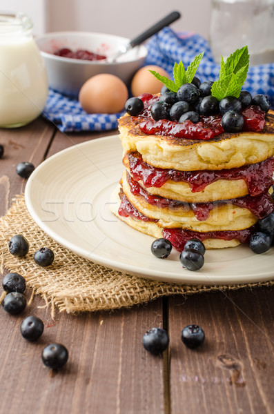 Glutten-free pancakes with jam and blueberries Stock photo © Peteer