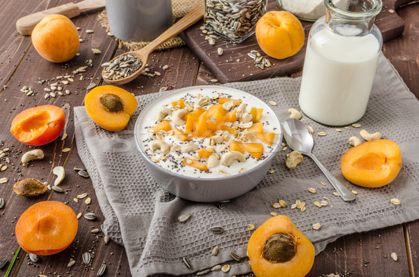 Nacional yogurt leche crujiente nueces saludable Foto stock © Peteer