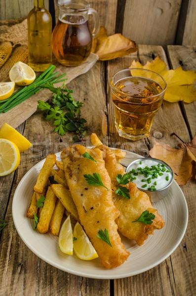 Pesce chip birra erbe Foto d'archivio © Peteer
