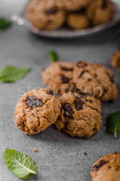 チョコレート チップ クッキー ピーナッツバター ミント 背景 ストックフォト © Peteer