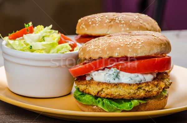 Vegetarian chickpea burger Stock photo © Peteer