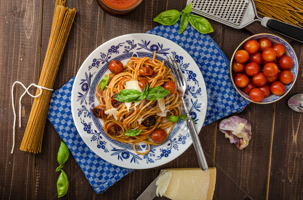Stock photo: Wholemeal pasta with roasted tomato
