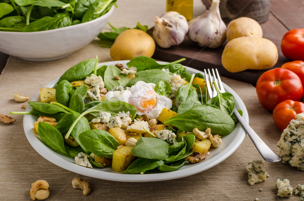 Spinazie salade ei schimmelkaas Stockfoto © Peteer