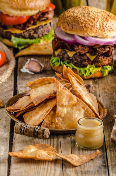Homemade nachos with rustic burger Stock photo © Peteer