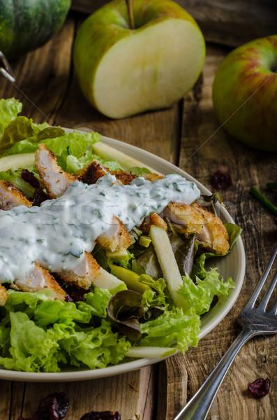 Salata ızgara tavuk basit lezzetli fındık elma Stok fotoğraf © Peteer