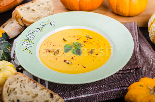 Krémes sütőtök leves finom maradék fűszeres Stock fotó © Peteer