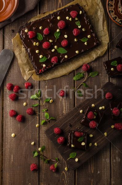 çikolata nane ahududu beyaz kahve kek Stok fotoğraf © Peteer