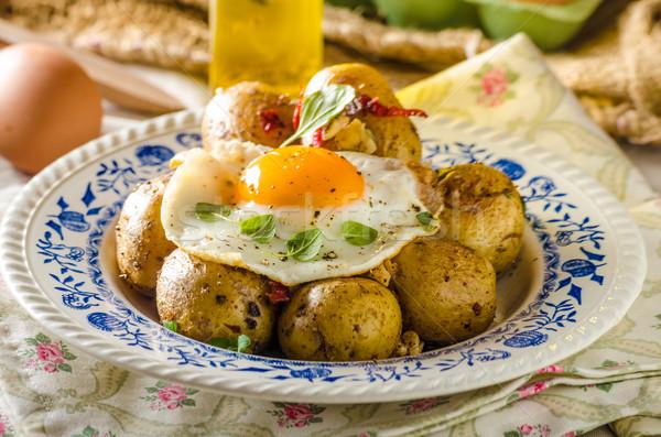 Patates çili sahanda yumurta taze genç Stok fotoğraf © Peteer