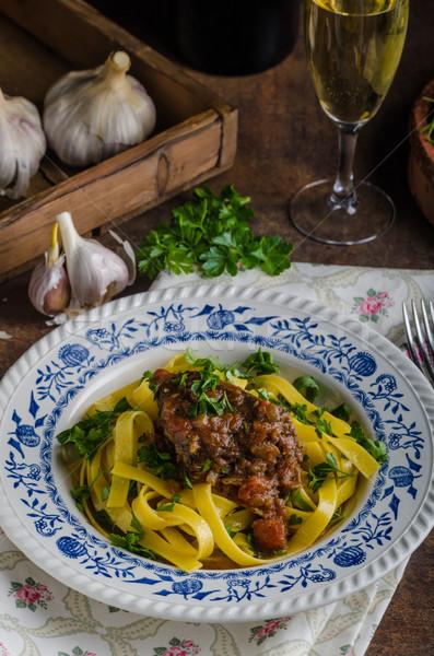 Italian pasta with beef stew Stock photo © Peteer