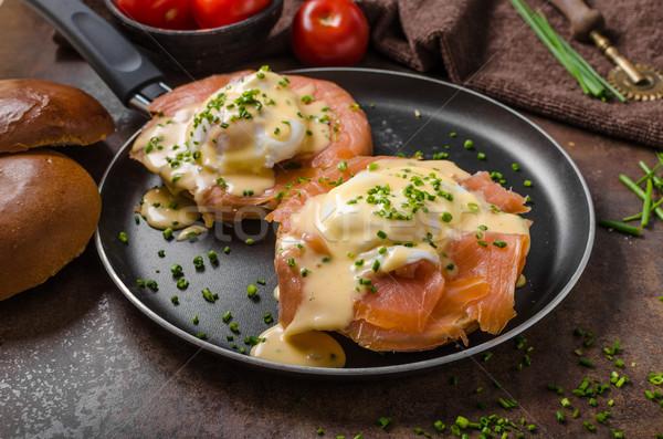 Eggs benedict with salmon Stock photo © Peteer