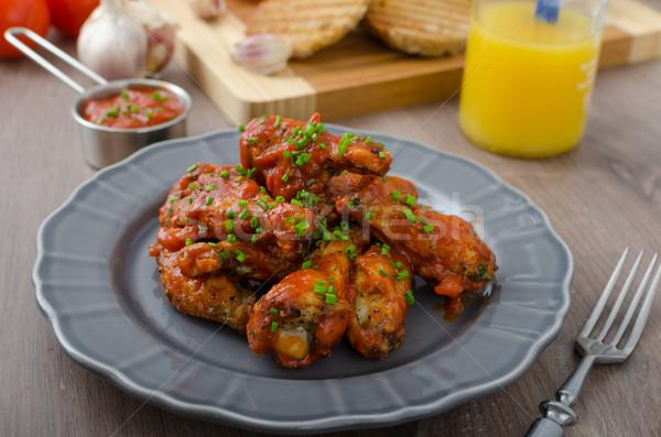 Pikantny kurczaka skrzydełka piwa chleba panini Zdjęcia stock © Peteer