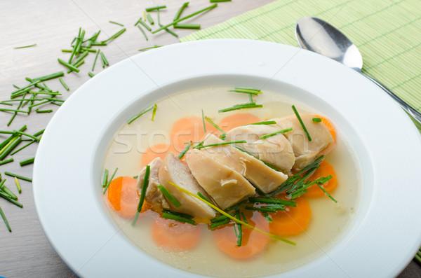 Kip bouillon verse groenten bieslook voedsel blad Stockfoto © Peteer