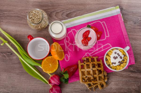 клубника льстец здорового завтрак стекла Сток-фото © Peteer