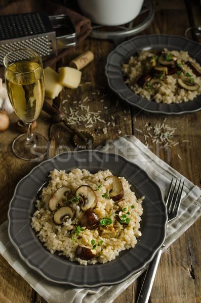 Origineel Italiaans risotto champignons parmezaanse kaas voedsel Stockfoto © Peteer