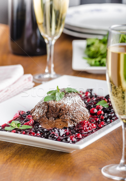 Chocolate souffle with berries Stock photo © Peteer
