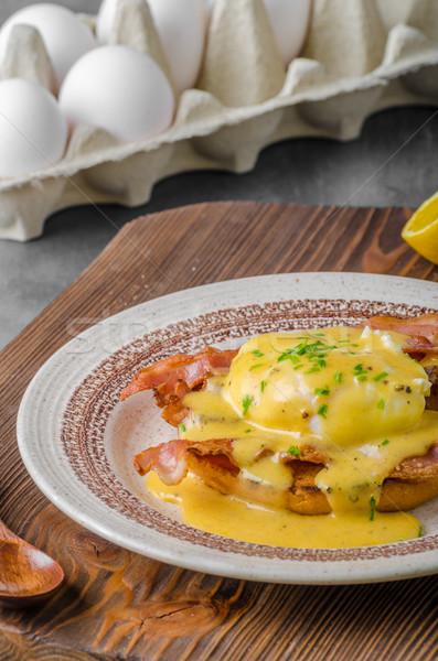 Tojások szalonna mártás étel tojás kenyér Stock fotó © Peteer