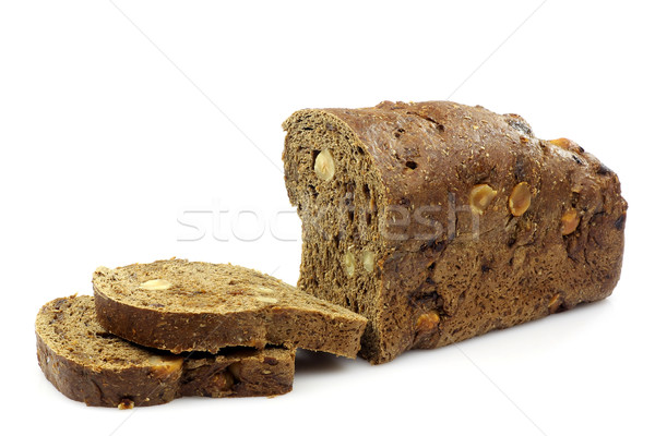 Szeletel teljeskiőrlésű kenyér mogyoró fehér étel Stock fotó © peter_zijlstra