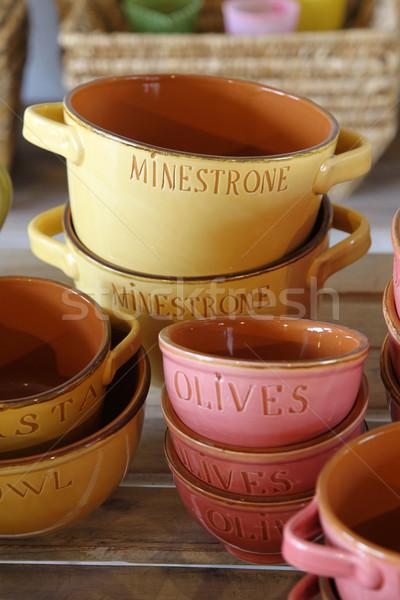 Cserépedények különböző színek formák asztal szemüveg Stock fotó © peter_zijlstra