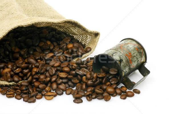 Beker jute zak koffiebonen witte Stockfoto © peter_zijlstra
