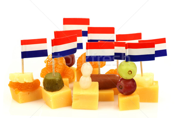 Nederlands kaas snacks witte voedsel partij Stockfoto © peter_zijlstra