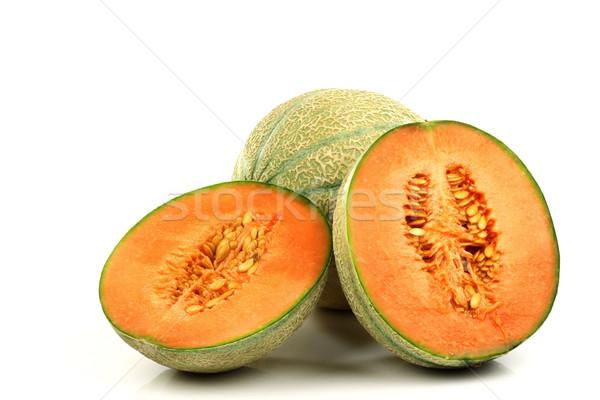 Сток-фото: частей · дыня · белый · продовольствие · оранжевый · десерта