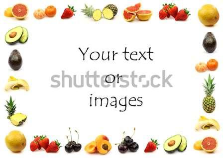 Stock fotó: Gyümölcs · keret · szoba · szöveg · képek · étel